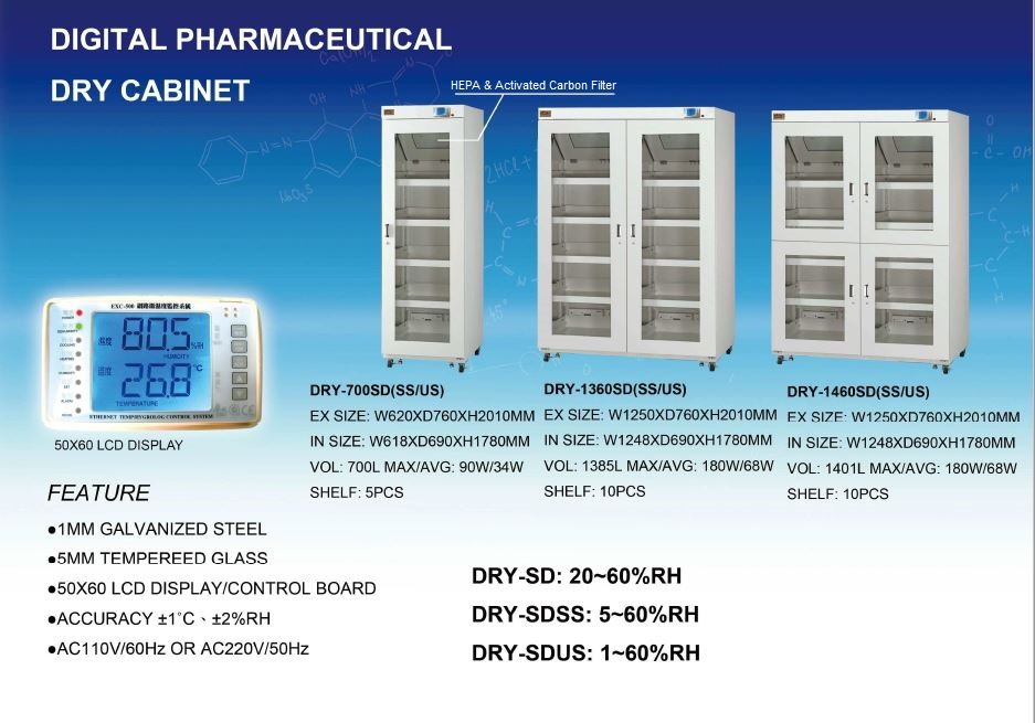 Industrial Digital Dry Cabinet Pharmaceutical Series 1rh 60rh